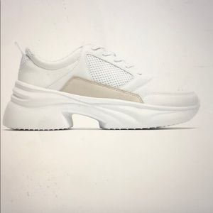 Zara new thick soled chunky sneakers white beige 7